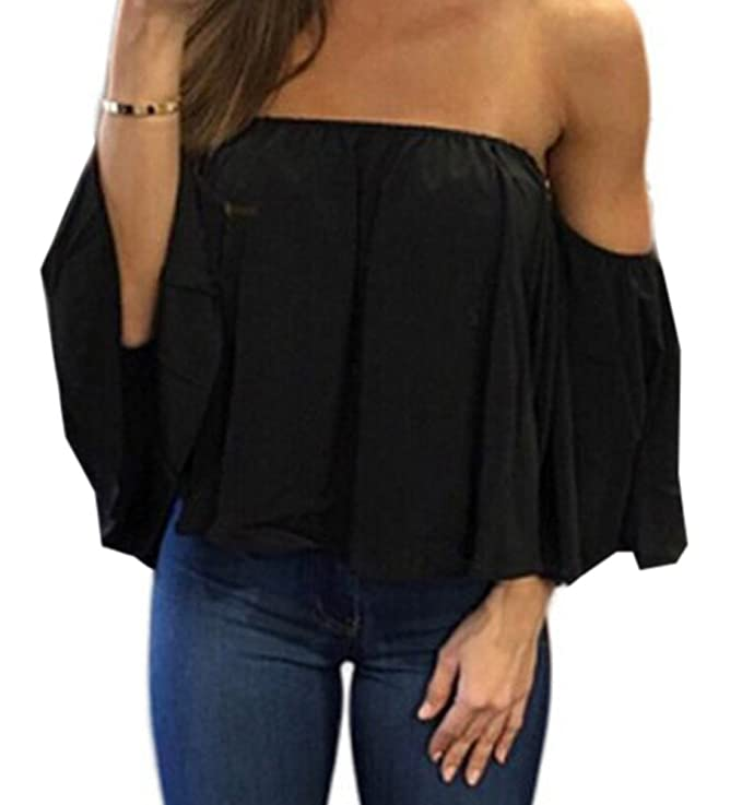 d7d46e3212fc FELACIA Women s Summer Off Shoulder Blouses Short Sleeves Sexy Tops Chiffon  Ruffles Casual T Shirt at Amazon Women s Clothing store