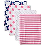 Gerber Baby Girls' 4 Pack Flannel Burp Cloths, Flower, One Size