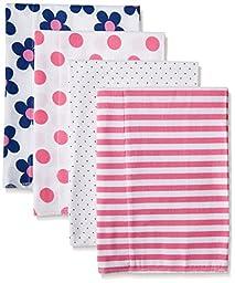 Gerber Baby Girls\' 4 Pack Flannel Burp Cloths, Flower, One Size