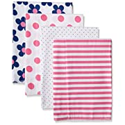 Gerber Baby Girls' 4 Pack Flannel Burp Cloths, Flower, 20  x 14