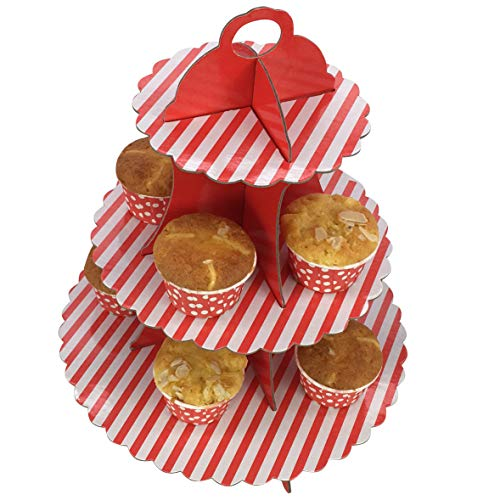 3-Tier Red and White Cardboard Cupcake Stand/Tower 1-Set (1, Red)