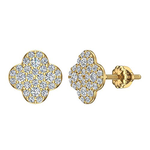 - Luck Charm 14K Yellow Gold Pavé Diamond Stud Earrings Clover Shape cluster 0.5 carat total weight