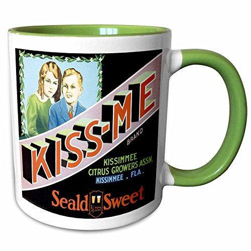 - 3dRose BLN Vintage Fruit and Vegetable Crate Labels - Vintage Kiss-Me Brand Seald Sweet Oranges Crate Label - 15oz Two-Tone Green Mug (mug_129865_12)