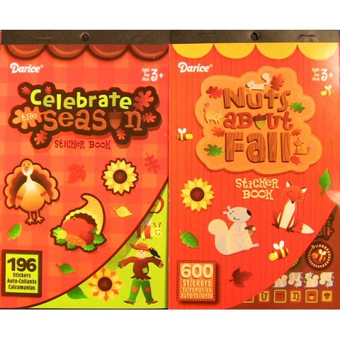2-BOOKS-of-AUTUMN-Fall-Mini-STICKERS-796-total-stickers-Thanksgiving-Halloween-Kids-ACTIVITY-Craft-Party-FAVORS-Scrapbooking-PARTY-PROJECT-by-Darice