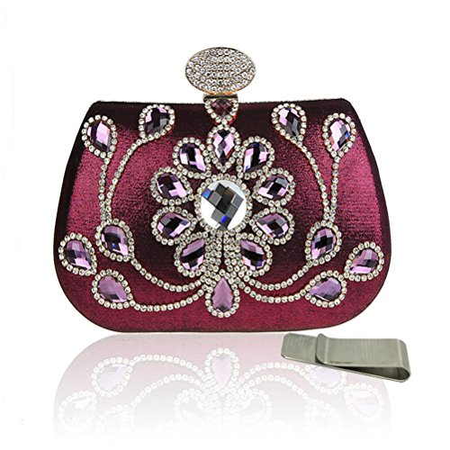 Taidaf Women Luxury Full Crystal Evening Clutches Bag Studded Rhinestone Wedding Prom Purses + Money Clip, (Purple Full Rhinestones)
