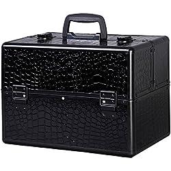 "Pro 14""x9""x10""Aluminum Makeup Train Case Jewelry Box Cosmetic Organizer Croc + FREE E-Book"