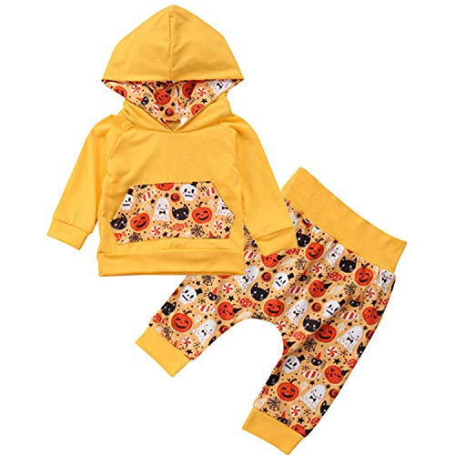 (MAMOWEAR 2Pcs Halloween Newborn Baby Boys Girls Outfits Long Sleeve Pocket Hoodie Tops + Pumpkin Printing Long Pants Set (A-Orange, 0-6Months))