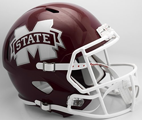 Riddell NCAA Mississippi State Bulldogs Helmet Full Size ReplicaHelmet Replica Full Size Speed Style, Team Colors, One Size