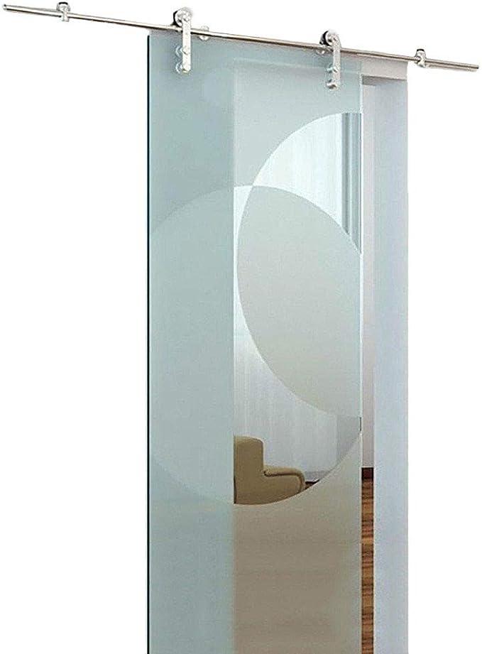 Herraje para Puerta Corredera Kit 3.3ft-12ft Puerta corrediza de vidrio Carril de riel colgante de acero inoxidable - Kit de hardware completo, accesorios de riel de puerta de granero de empuje y