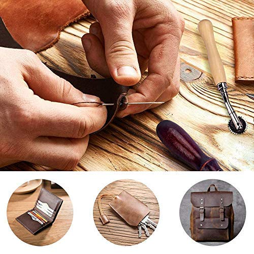 Poualss Leather Sewing Tools 27 Pieces DIY Leather Stitching Making Working Kit Groover Awl Waxed Thimble Thread for Sewing Leather, Canvas, DIY Leathercraft Tool