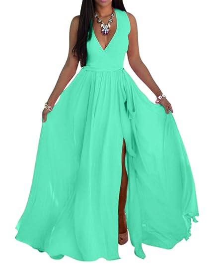 b3b53430f319d SheKiss Womens Sexy V-Neck Chiffon Long Maxi Dresses Sleeveless Split Beach  Bridesmaid Flowy Sundress