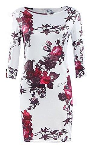 Cruiize Womens Casual Une Épaule À Manches Longues Floral Mini-robe Blanche Moulante