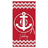 Monogram Anchor with Rope and Chevrons on Red Ultra Thin Beach Towel