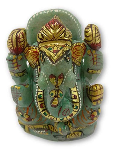 Green Aventurine stone Ganesh Statue 3 inches with Gold foil work - Ganesha the Elephant God carving in Gemstones 3 Stone Gold Foil