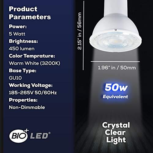 Bioled GU10 5W LED Lampe, 10er Pack, 450lm, Warmweiss 3200K Reflektorlampe, Ersetzt 50 Watt Halogenlampen, Led Birne, 40° Abstrahlwinkel Spotlight, mit GU10-Sockel