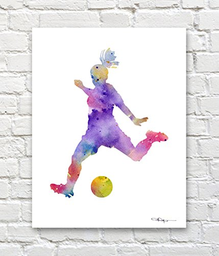 ''Girl Soccer Player'' Abstract Watercolor Art Print By Artist DJ Rogers by DJ Rogers Fine Art