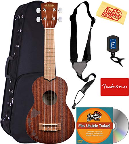 Kala KA-15S-H2 Satin Mahogany Soprano Ukulele - Hawaiian Islands & Tattoo Bundle with Hard Case, Tuner, Strap, Fender Play, Austin Bazaar Instructional DVD, and Polishing Cloth