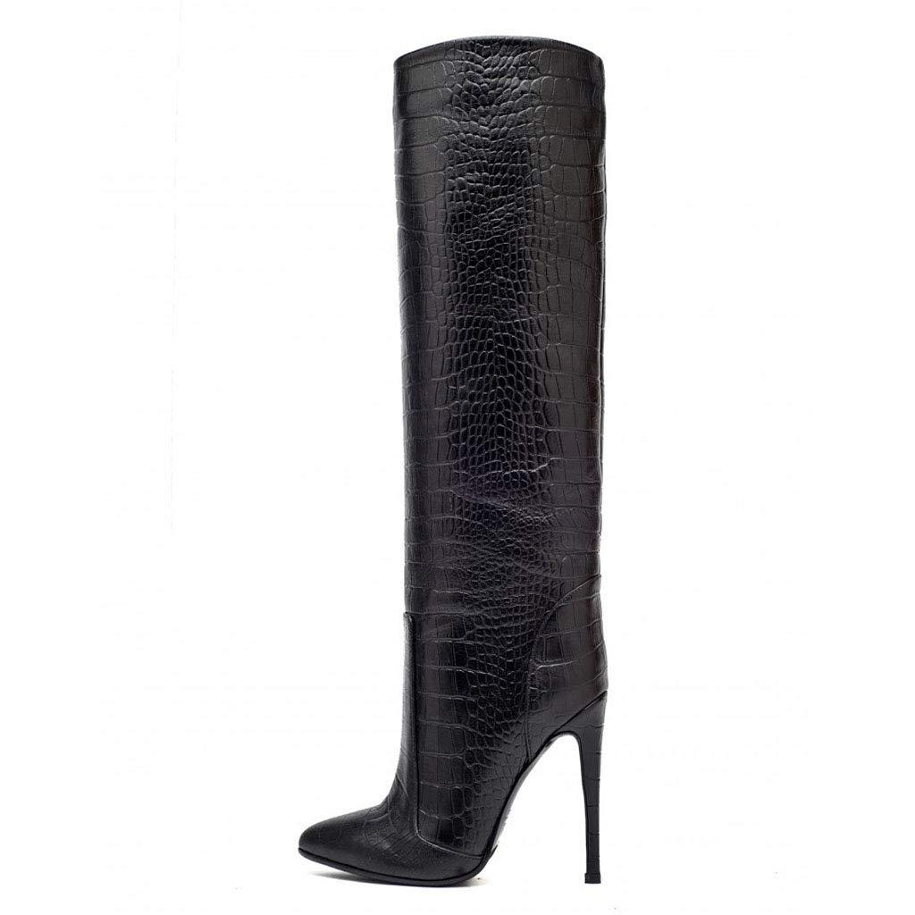Damenmode-Stiefel Stiefel Spitz Feine Ferse Große Große Große Größe (Super Hoch Mit 8CM Oder Mehr) 124006