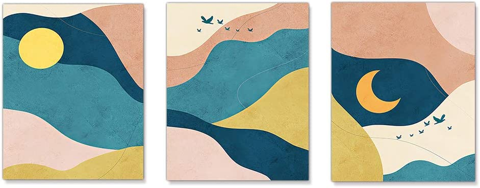 XGXL Sun and Moon Canvas Wall Art - 3 Pieces Unframed Morandi Blue Prints Abstract Print Mid Century Modern Artwork for Home Decorations Bedroom Wall Decor
