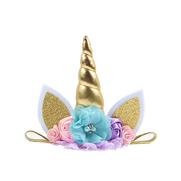 Nishine Baby Elastic Glitter Unicorn Horn Headband Children Unicorn Party Supplies Cosplay Gift 5