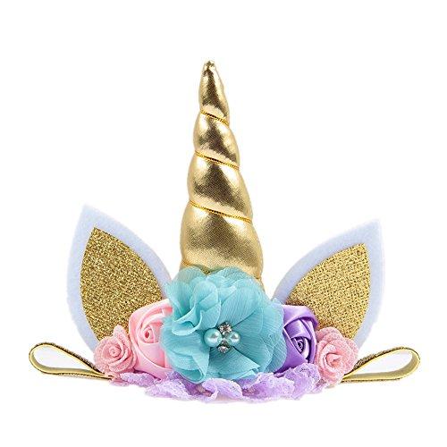 Nishine Baby Elastic Glitter Unicorn Horn Headband Children Unicorn Party Supplies Cosplay Gift (gold) -