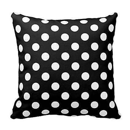 Black And White Polka Dot Throw Pillows Decorative Square Decor Pillow Case  18u0026quot ...