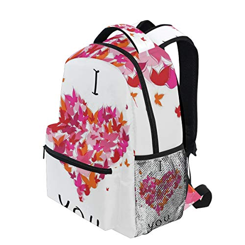 KVMV Stylish Heart Figure Filled with Butterflies Soul Mate Real True Deep My Dear Valentines Lightweight School Backpack Students College Bag Travel Hiking Camping Bags ()