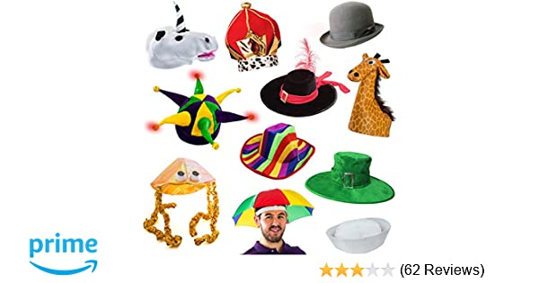 Amazon 6 Assorted Dress Up Costume Party Hats By Funny Adult Kitchen Dining