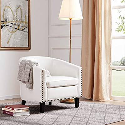 BELLEZE Modern Nailhead Trim Upholstered Tub Barrel Accent Chair Faux Leather, White - Drawing on the elegance design, it has a simplified profile with soft curves and sheltering arms Meticulously hand-applied nail heads grace the perimeter for a final touch Upholstered armchair is cushy and welcoming in any room - living-room-furniture, living-room, accent-chairs - 51vELvvsqlL. SS400  -