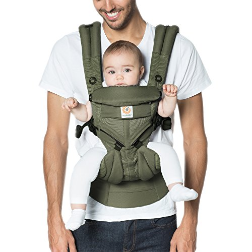 Ergobaby Omni 360 Cool Air Mesh Ergonomic Baby Carrier All Carry Positions, Newborn to Toddler, Khaki Green ()