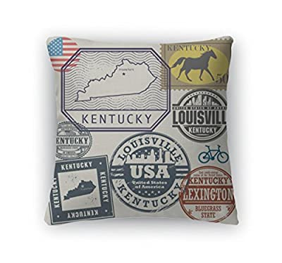 Gear New Throw Pillow Accent Decor, Stamp Set With The Name And Map Of Kentucky United States, 5673256GN