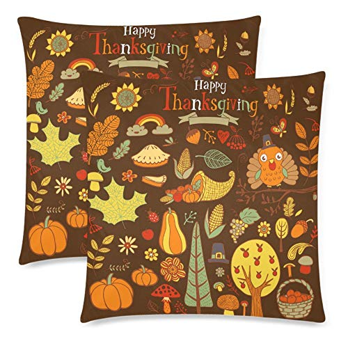 a PIN Custom 2 Pack Traditional Fall Holiday Thanksgiving Day Throw Cushion Pillow Case CoversTwin Sides, Autumn Harvest with Turkey Cotton Zippered Pillowcase Sets Decorative (45.72cm x 45.72cm)