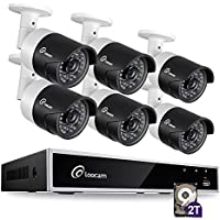 Surveillance Bullet Camera System CCTV 8CH 1080P HD-TVI DVR 6x 2.0MP 1920TVL Waterproof IP67 Indoor/Outdoor Night Vision Distance 150ft 2TB Hard Drive Motion Detection, Smartphone Easy Remote Access