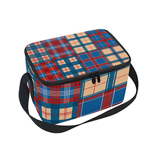(Flannel Red Blue Plaid Texture Vector Large Capacity Insulated Lunch Tote Bag Portable Travel Picnic School Handbag Cooler Warm Lunchbox for Kids Children Girls Boys Women Men)