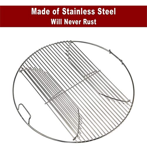304 Stainless Steel Hinged Cooking Grate for 22.5 inch Weber Charcoal -