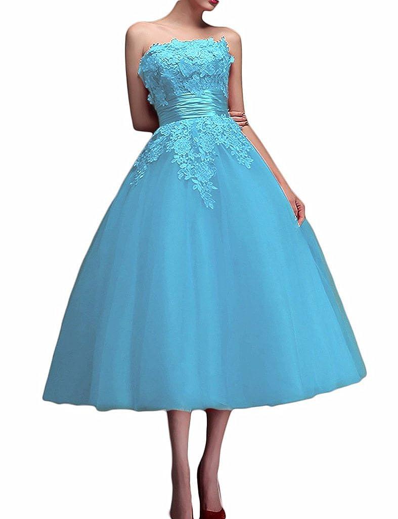Rieshaneea Tea Length Bridesmaid Dresses Off Shoulder Lace Appliques