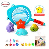 Meyall 18pcs Floating Bath Toy, Baby Squirt Toys, Little Animals Bath Squirters, Kids Bathtub Swimming Pool Rubber Float Squeeze Sound Toys with Fishing Net & Storage Bag