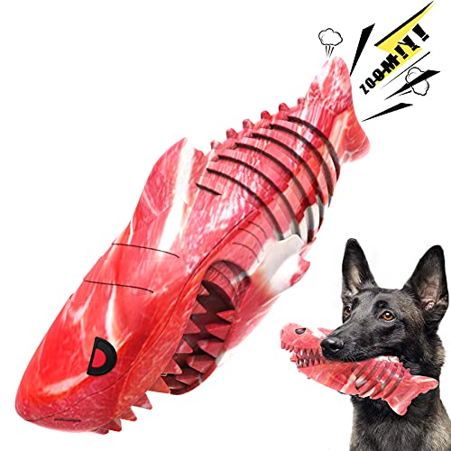 Dog Toys for Aggressive Chewers, Dog Chew Toy Dog Squeaky Toy Durable Rubber Dog Toys, Indestructible Shark Dog Toys for Small Medium Large Breed with Cleaning Brush (Red Shark)
