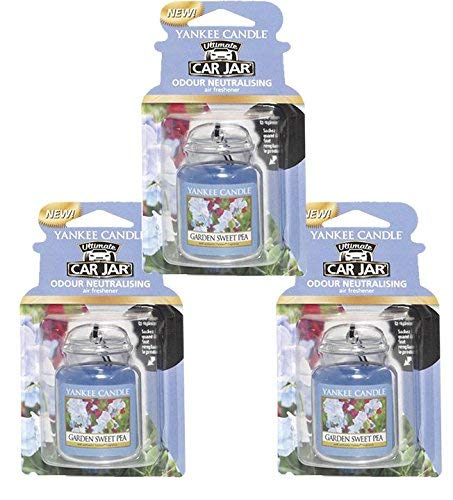 yankee candles co., 3 x Garden Sweet Pea Ultimate Car Jar Air Freshener, Festive Scent