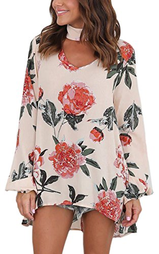 ECOWISH Womens Sexy Floral Print Long Sleeve Choker V Neck Blouses Casual Tops, Beige, US XL (Sexy Beige Shirt)