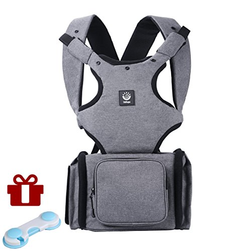 Unihope 360° Ergonomic Baby Carrier and 3-in-1 Multi-function Baby Diaper Bag Backpack?Grey-With Gift Child Safety Cabinet Locks