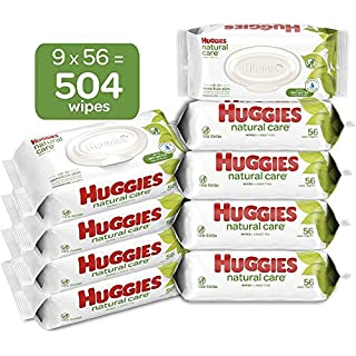 HUGGIES Natural Care Unscented Baby Wipes, Sensitive, Water-Based, 9 Total Flip Top Packs, 504 Count