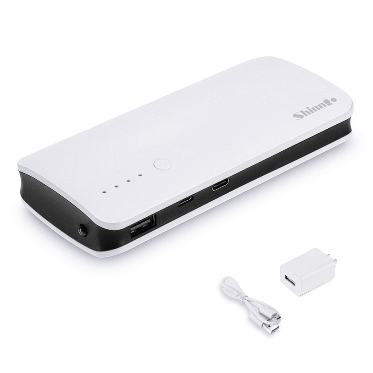 Shinngo Portable Charger 10000mAh 3.4A Output Ultra Compact High Capacity Power Bank Dual USB Ports High-Speed Charger Battery Pack with Flashlight (White)