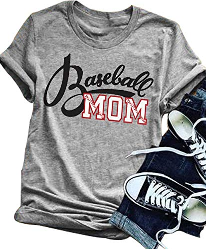LONBANSTR Women Baseball Mom Letter Print T Shirt
