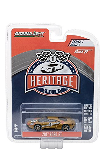 Kit Toy Car Diecast Greenlight 1:64 Heritage Racing Series 1 - 2017 Ford GT - 1966 #2 Ford GT40 Mk II Tribute Gold Color Limited Edition