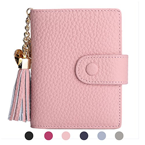 Women's Mini Credit Card Case Wallet with ID Window and Zipper Holder purse ID Wallet (Pink)