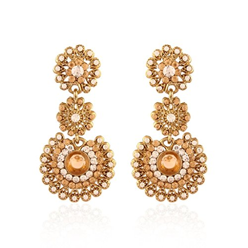 I Jewels Indian Bollywood Gold Plated Stone Earrings for Women E2099LW (LCT/Gold) by I Jewels