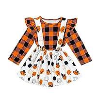 Cuekondy Toddler Girls Halloween Outfit Pumpkin Costume Dress Plaid Tops Bat Ghost Skirt Newborn Baby Girls Costume Set