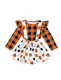 oldeagle Baby Girls Clothes, Toddler Baby Kids Girls Halloween Pumpkin Plaid Tops Overall Skirt Dress 2PCs Set (18-24 Months, Orange)