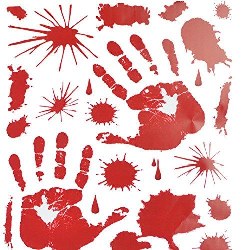 Halloween Bloody Handprints Footprints Window Gel Clings - 1 Set Handprints & 1 Set Footprints, 12-Inch by 17-Inch Sheet